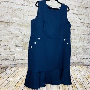 Loft Plus size Navy and Pearl Flounce Dress